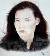 Closeup Pastels Prints - Freckle Faced Beauty Lucy Liu Print by Jim Fitzpatrick