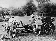 Artillery Gun Prints - French Cannoniers In Indochina Print by Underwood Archives