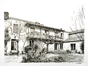 Wine Drawings - French house - Black ink by Nicolas Jolly