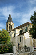 Small French Village Posters - French Village Church Poster by Olivier Le Queinec