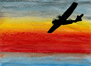 Aviator Painting Posters - Friend in the sky - PBY Catalina on patrol Poster by R Kyllo