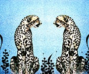 Cheetah Digital Art - Friendly Rival by Sharon K Shubert