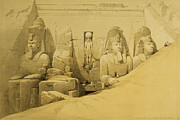 Historic Statue Painting Framed Prints - Front Elevation of the Great Temple of Aboo Simbel Framed Print by David Roberts