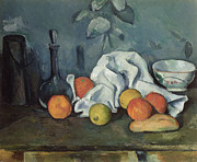 Carafe Posters - Fruits Poster by Paul Cezanne