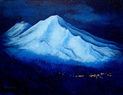 Mountain Climbing Paintings - FULL  MOON  of  MAY  by Shasta Eone