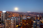 La Paz Prints - Full Moon Rising Over La Paz Print by James Brunker
