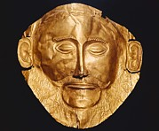 Ancient Greek Jewelry Posters - Funerary Mask Og Agamemnon. Ca. 1550 Poster by Everett