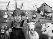 Farm Wagon Prints - Funny Farm bw Print by Leah Saulnier The Painting Maniac
