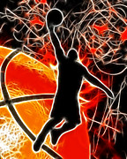 Basketball Abstract Digital Art Posters - Galactic Dunk Poster by David G Paul