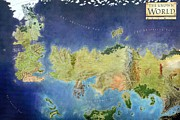 Movies Drawings Prints - Game of Thrones World Map Print by Sanely Great