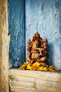Indian Deities Metal Prints - Ganesha Statue and Flower Petals Metal Print by Tim Gainey