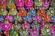 Multicolored Framed Prints - Ganesha Statue Pattern Framed Print by Tim Gainey