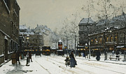 Snow Covered Street Framed Prints - Gare du Nord Paris Framed Print by Eugene Galien-Laloue