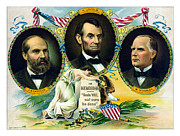 Us Presidents Mixed Media Prints - Garfield Lincoln and McKinley In Memoriam Print by War Is Hell Store