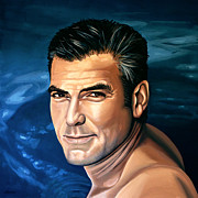 Pitt Framed Prints - George Clooney 2 Framed Print by Paul  Meijering