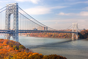 Hudson Valley Framed Prints - George Washington Bridge Framed Print by Clarence Holmes