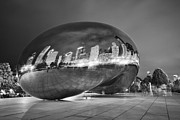 Chicago Black White Posters - Ghosts in The Bean Poster by Adam Romanowicz