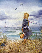 Watercolor By Irina Prints - Girl And The Ocean Print by Irina Sztukowski