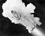 211 Framed Prints - Girl Becomes Human Cannonball Framed Print by Underwood Archives