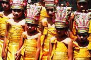 Headdresses Photos - Girls At Puri Agung Ceremony by Michael Brewer