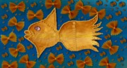 Glowing  Gold Fish Print by Pepita Selles