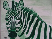 Zebra Paintings - Go Zebra Green by Scott Dokey