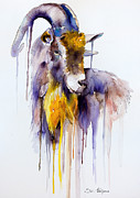 Goat Mixed Media Posters - Goat Poster by Lyubomir Kanelov