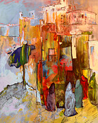 Moroccan Drawings Posters - Going to The Medina in Morocco Poster by Miki De Goodaboom