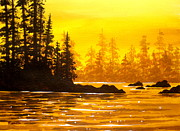 Serenity Scenes Landscapes Paintings - Golden  Flow  by Shasta Eone