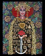 Heart Of The Rose Metal Prints - Golden Goddess of the Alchemical Heart Metal Print by Ilene Satala