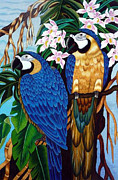 Parrot Tapestries - Textiles Metal Prints - Golden Macaw hand embroidery Metal Print by To-Tam Gerwe