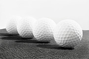 Round Of Golf Posters - Golf Balls in Black and White Poster by Vizual Studio