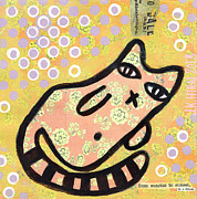 Chihuahua Artwork Posters - Good Kitty Poster by Jen Kelly Hirai