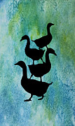 Folk Art Mixed Media - Goose Pile on Aqua by Jenny Armitage
