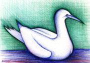Geese Drawings Metal Prints - Goosey Metal Print by Nina Kuriloff