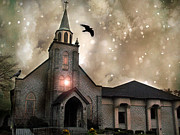 Ravens With Church Canvas Photos Framed Prints - Gothic Surreal Haunted Church and Steeple With Crows and Ravens Flying  Framed Print by Kathy Fornal