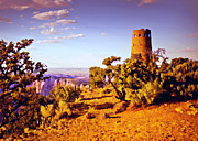 Lapin Prints - Grand Canyon National Park Golden Hour Watchtower Print by Nadine and Bob Johnston