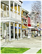 Store Fronts Paintings - Granville Ohio Sidewalk by Rick Mock
