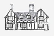 Historic Home Drawings Metal Prints - Great Bardfield St Johns Terrace Metal Print by Shirley Miller