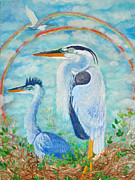 Bright Paintings - Great Blue Herons Seek Freedom by Ashleigh Dyan Moore