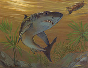 Great Outdoors Paintings - Great White Shark by ACE Coinage painting by Michael Rothman