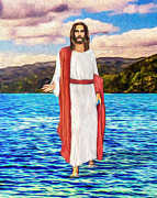 Christ Walking On Water Posters - Greater Things Shall Ye Do Poster by Tarik Eltawil