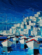 Mona Edulescu Paintings - Greek Harbor by EMONA Art