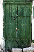 Green Door Prints - Green Door in Ayios Neophytos Print by John Rizzuto