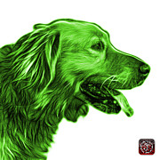 Golden Retriever Mixed Media - Green Golden Retriever - 4047 FS by James Ahn
