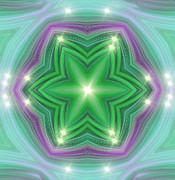 Abstract Stars Prints - Green Star Light Print by Linda Phelps