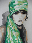 Famous Faces Painting Originals - Greta Garbo by Chrisann Ellis