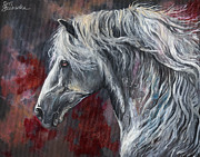 Wild Horse Metal Prints - Grey andalusian horse oil painting 2013 11 26 Metal Print by Angel  Tarantella