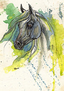 White Horse Painting Originals - Grey arabian horse b 04 11 2013 by Angel  Tarantella