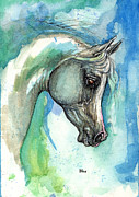 Dandelion Paintings - Grey Arabian Horse On Blue Background 05 11 2013 by Angel  Tarantella